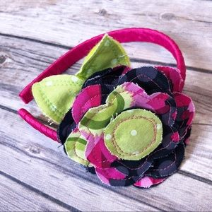*3 FOR $15* Flower Appliqué Headband - pink red